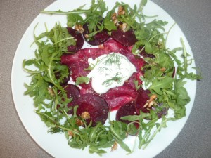 beetroot stained smoked salmon